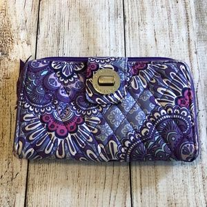 Vera Bradley Lilac Tapestry Turn Lock Wallet ID